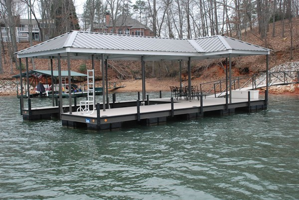 hip and a half roof, lake living, dock box, swim ladder