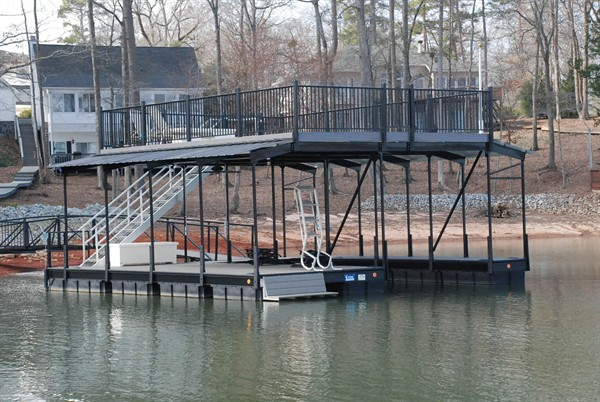 swim bench, party deck, double decker, sundeck dock, two story dock