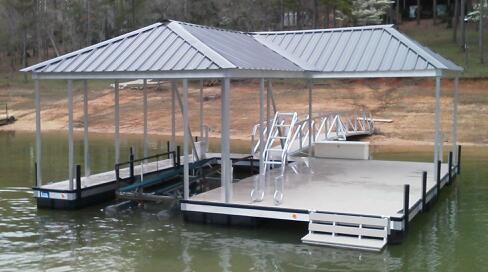 boat dock, compound hip roof, lake hartwell, aluminum, boat lift