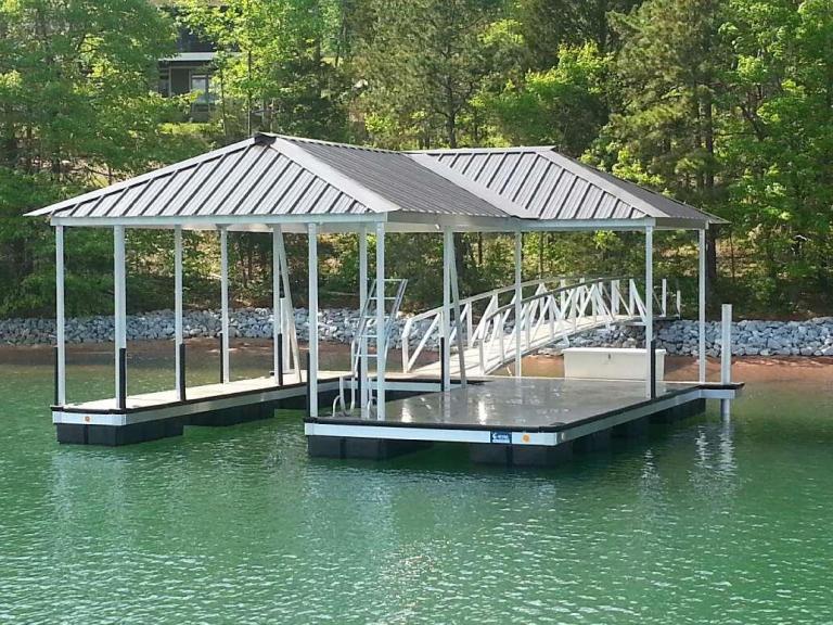 aluminum boat dock lake keowee, lake keowee boat docks for sale, custom built boat docks, boat dock