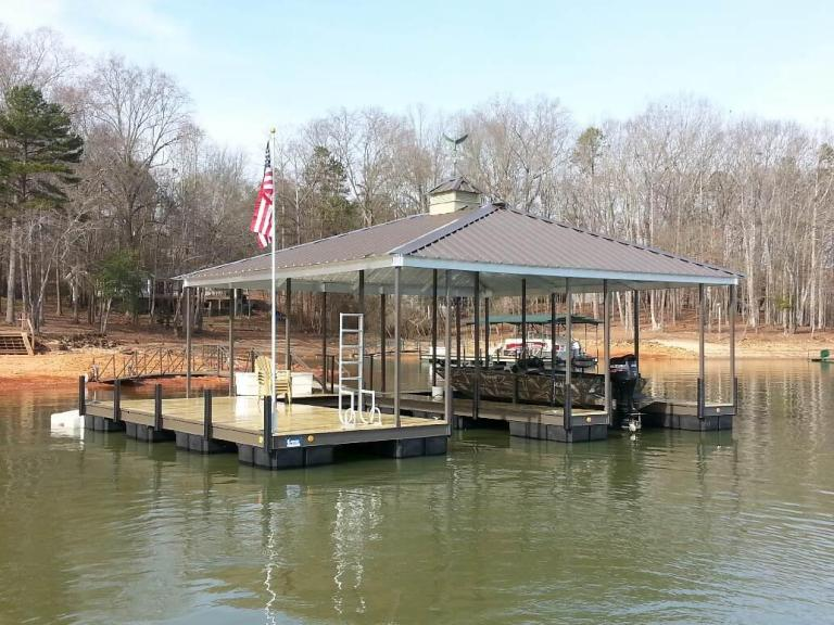 steel floating boat dock, floating boat dock, steel docks, lake hartwell docks