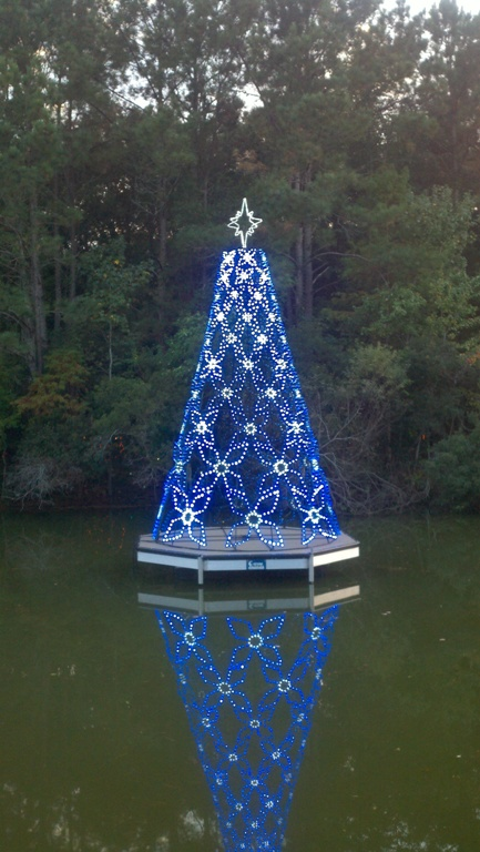Christmas tree on dock, Charleston parks and recreation, commercial dock, specialty boat docks