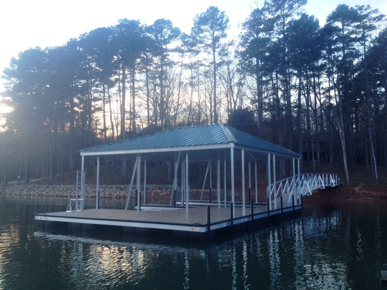 aluminum dock, double slip dock, custom built dock, all welded construction docks