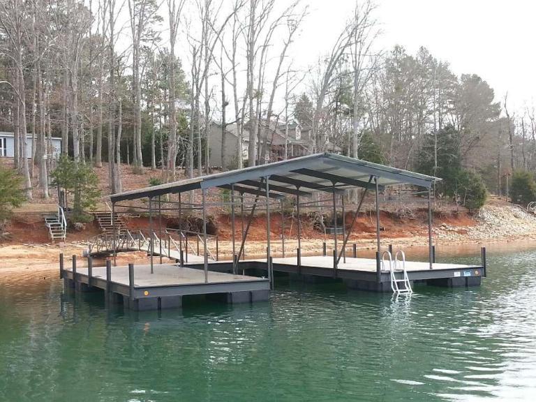 steel boat dock, floating boat dock, lake hartwell docks