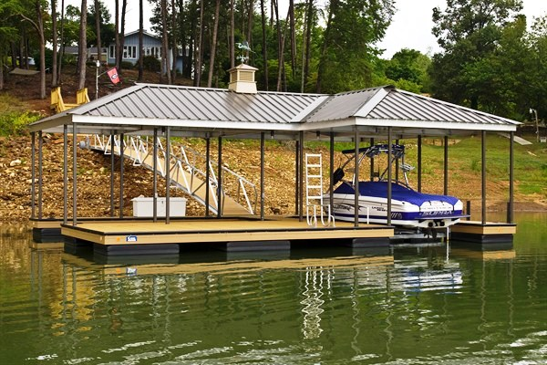 steel double slip dock, lake hartwell, compound hip roof