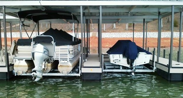 hull protection, rough water boat lift, dock stability, pontoon boat lift