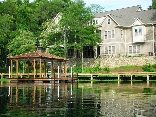steel dock, single slip dock, cedar shake roof, IPE Decking
