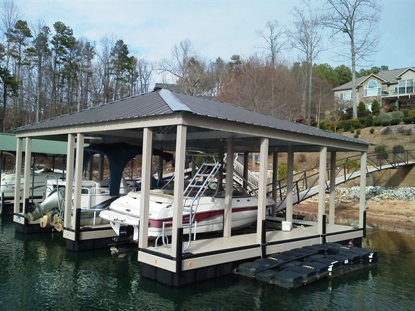 double slip dock, hip roof, boat house, boat docks, floating docks