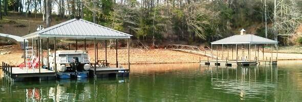 double wide side dock, hip roof, boat docks, boat lift