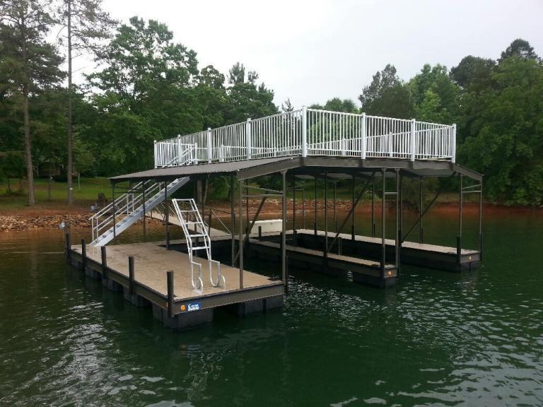 fiberon composite decking, steel double slip boat dock, steel dock with party deck, boat docks, steel boat docks