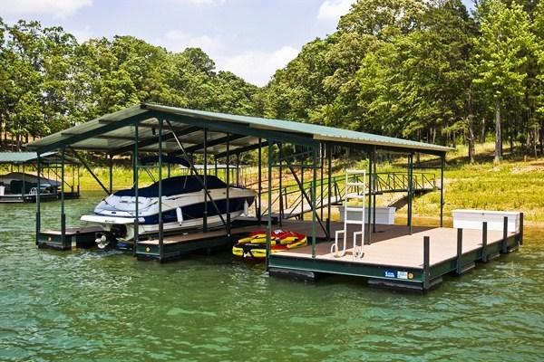 gable roof, steel dock, boat house, dock storage, swim ladder