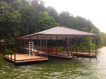 double slip dock, pwc lift, swim ladder, PVC decking, floating dock