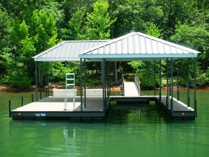 steel docks, I-Beam contruction, floating dock, hip and a half roof