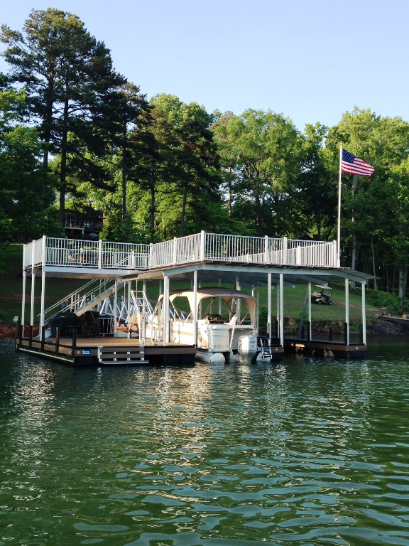 aluminum boat dock, lake hartwell docks, custom built boat dock, party deck boat dock