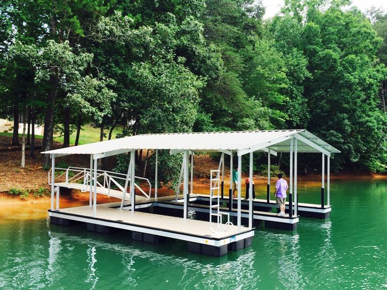 lake keowee boat dock, boat dock, aluminum boat dock