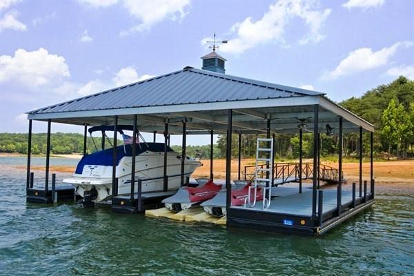 lake living, pwc lift, seadoo lift, boat lift, double slip dock
