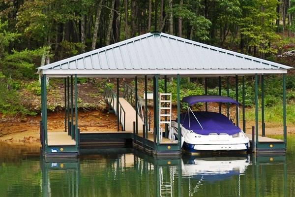 steel dock, custom dock, floating dock, boat docks, double slip dock