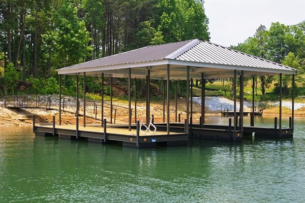 double slip steel dock, boat docks, floating dock, lake thurmond