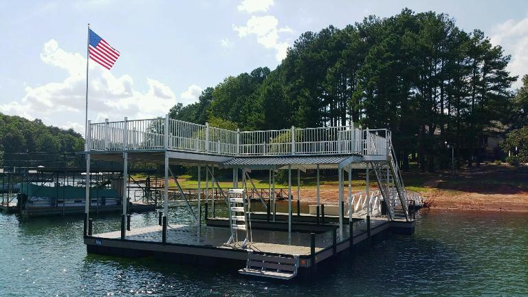 wet steps, flag pole, boat dock, lake life, party deck