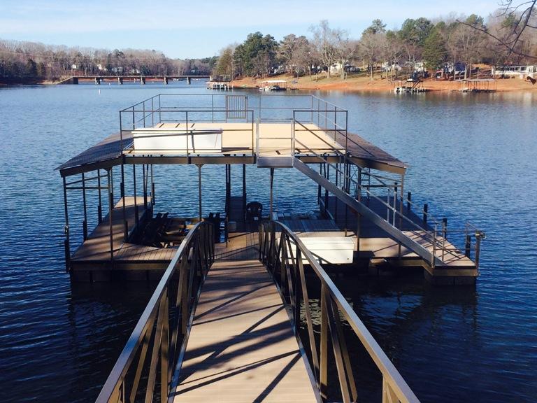 steel docks, party deck dock, floating boat docks, double slip boat docks
