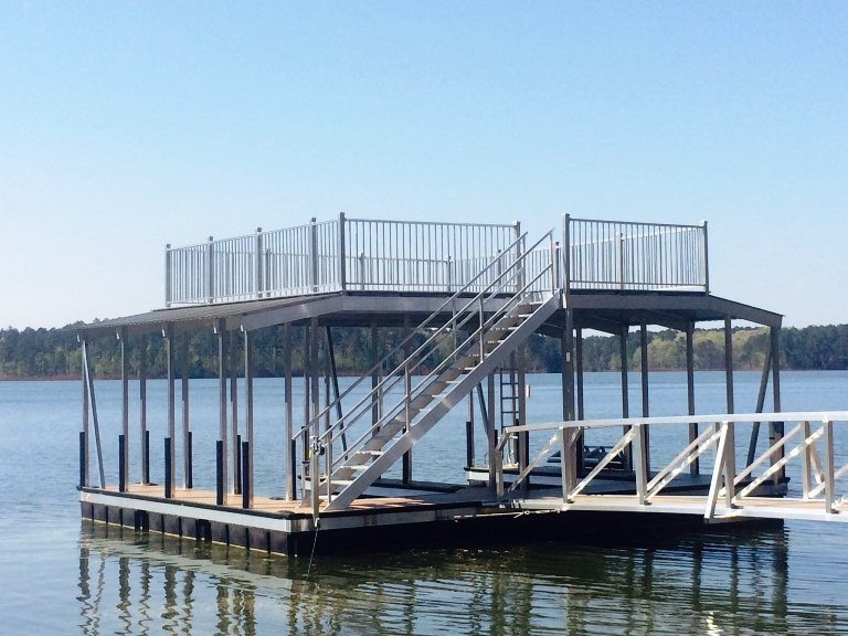 aluminum dock with party deck, lake thurmond dock with sundeck, lake thurmond boat docks