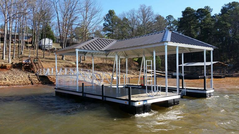 safety rails, handicapped accessible boat dock, boat docks, aluminum boat dock