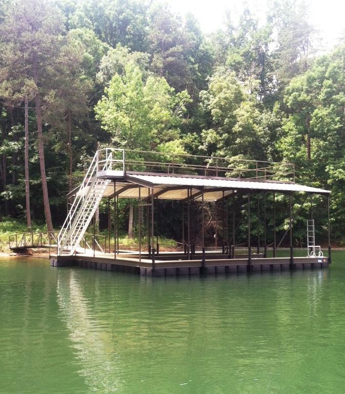 double decker boat dock, sundeck roof boat dock, party deck boat dock