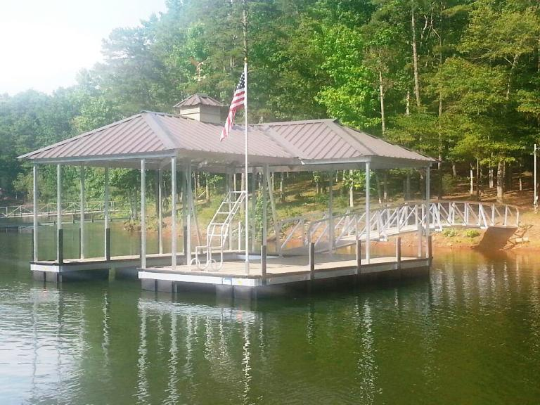 aluminum boat dock, aluminum swim ladder, cupola with weathervane, custom built boat dock