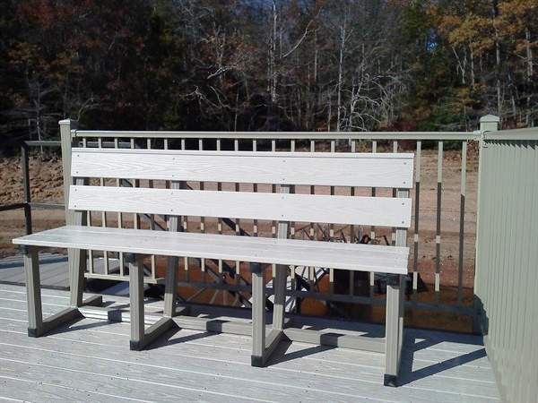 slanted back bench, outdoor furniture, bench with cup holders