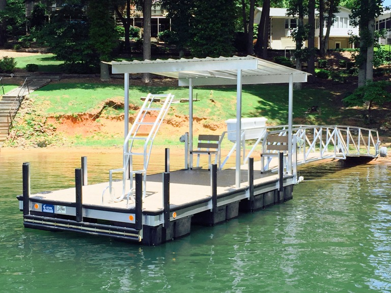 custom built dock, platform boat dock, docking accessories, boat dock