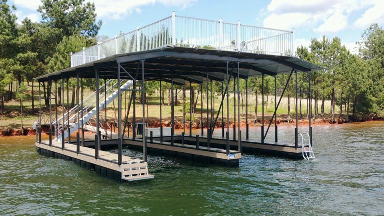 double slip boat dock, dock accessories, aluminum flooring