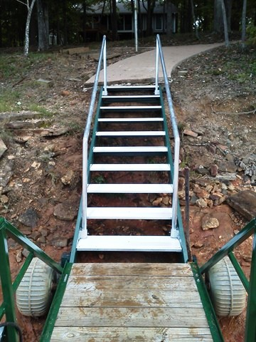 shoreline steps, removable rails, dredging, erosion control, rip raft