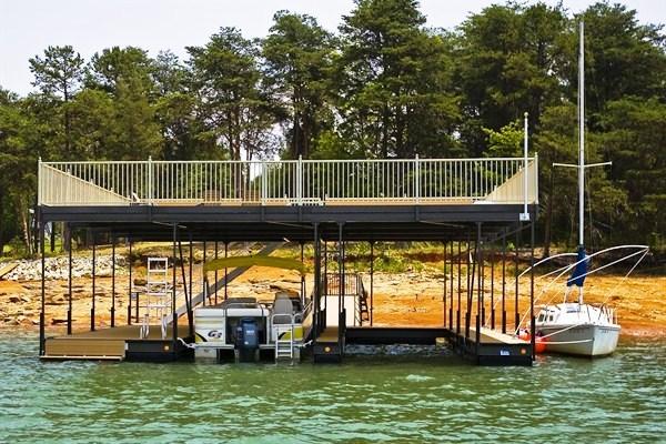 party deck, sundeck roof, double decker dock, steel boat docks
