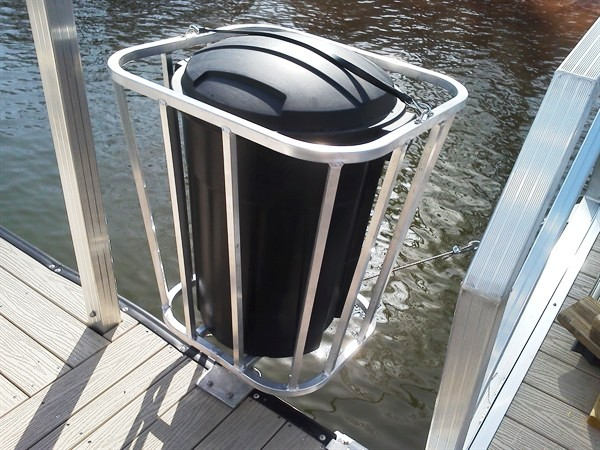 trash can compartment, trash holder, trash can holder for dock