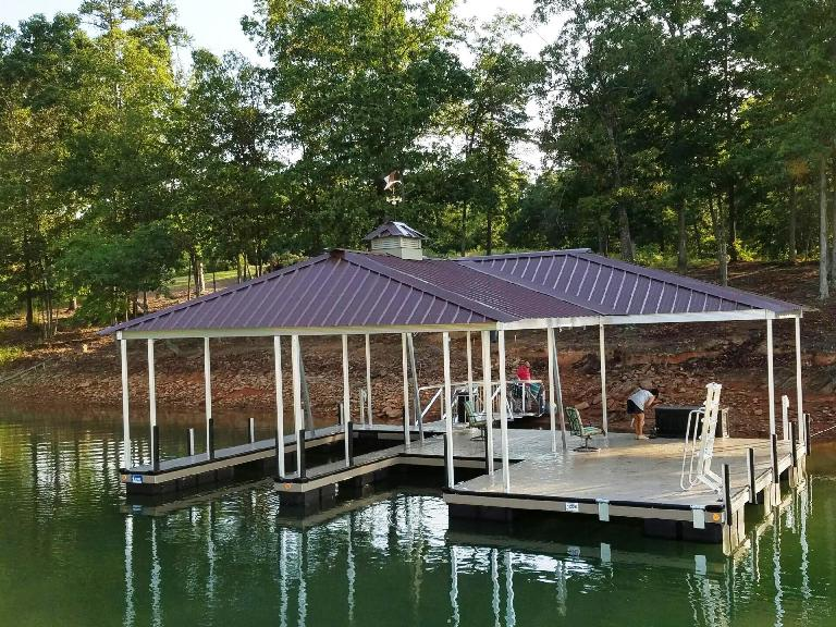 boat dock, aluminum boat dock, double slip dock, wet steps