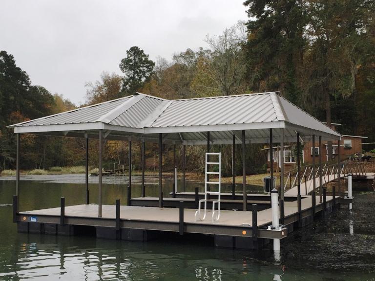 boat dock, steel boat dock, piling anchor system, custom boat dock