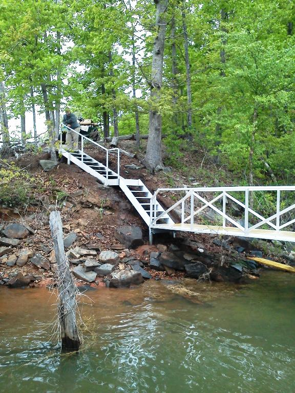 aluminum shoreline steps, shoreline stairs, bank appeal, steps to dock