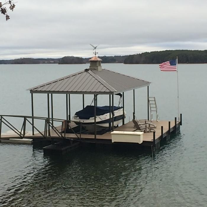 God Bless America, steel boat dock, lake keowee boat docks, American flag, flag pole for dock