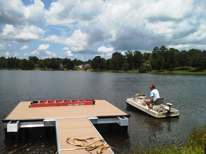 pond lake, swim platform, aluminum swim platform, paddle boat