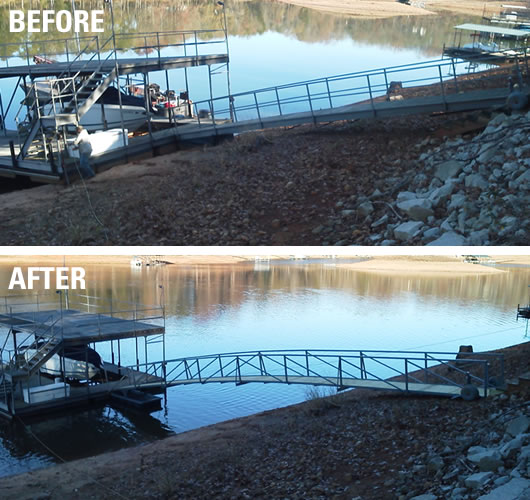 dock repairs lake greenwood, dock repairs lake jocassee, dock relocation