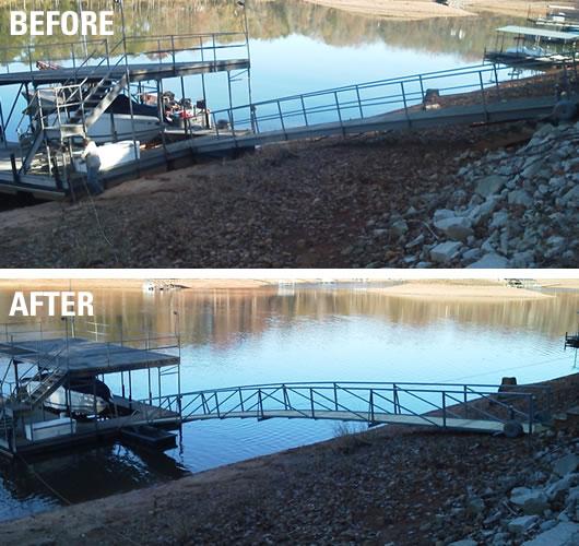 dock repairs lake greenwood, dock repairs lake jocassee, dock relocation