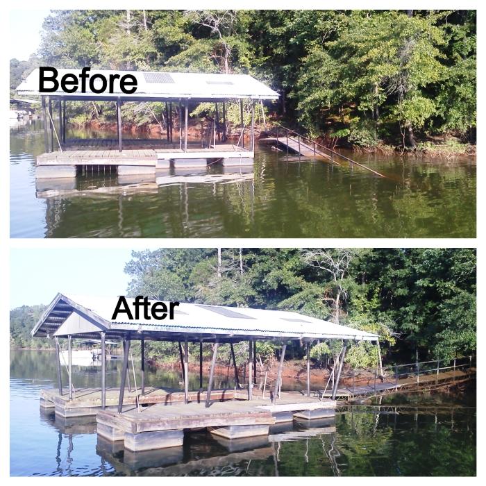 dock repairs, dock ramp repairs, dock restoration, lake keowee, boat dock