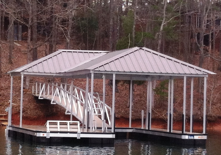 aluminum boat dock, lake thurmond boat docks, flip up water bench