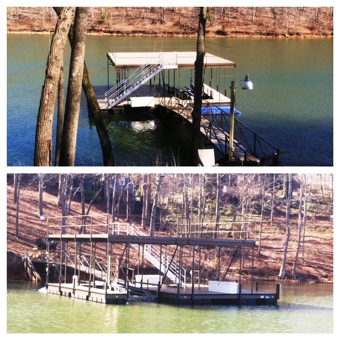 steel dock with sundeck roof, double slip steel dock, lake keowee boat dock