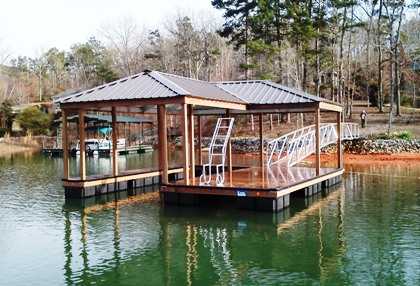 lake keowee, swim ladder, IPE decking, IPE Post Wrap, IPE Fascia wrap