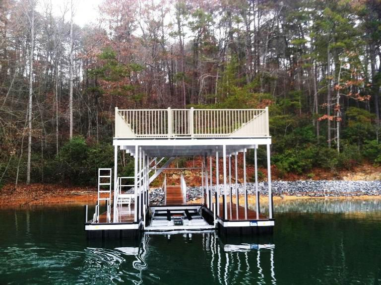 aluminum dock, gate for dock, floating two story dock, party deck dock, party deck