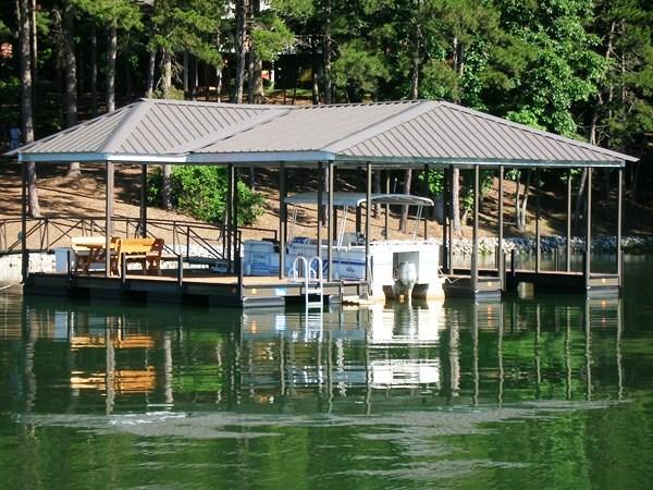 swim ladder, floating dock, compound hip roof, steel dock