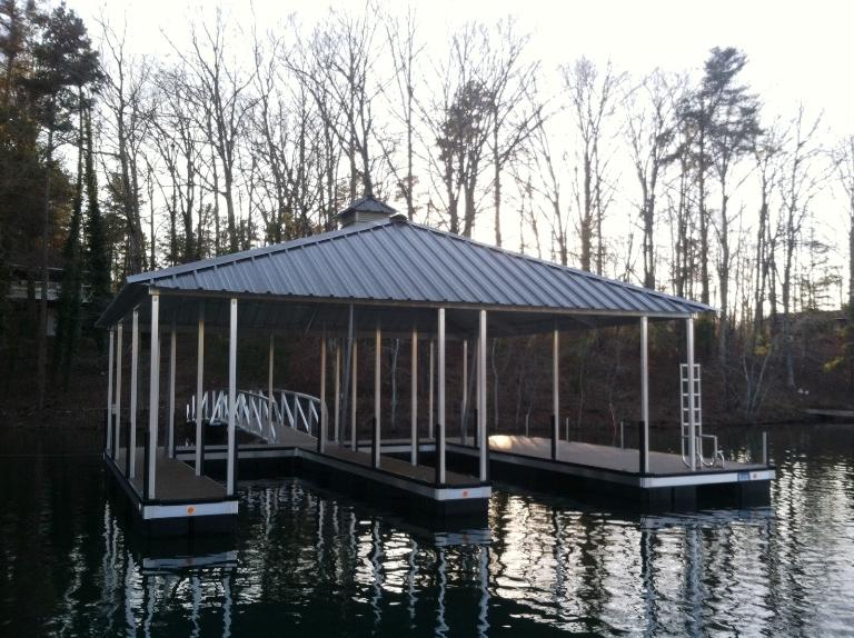 kroeger marine, floating boat dock, aluminum double slip dock, two slip dock