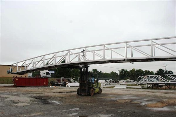 aluminum boat ramp, gangway, arched walkway, arched dock ramp