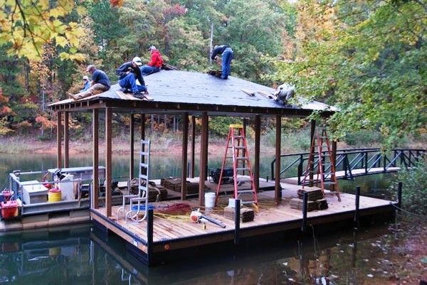 custom built dock, custom floating dock, aluminum dock, roof panels